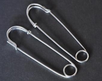 SAFETY PIN earrings - large 2 inch - sterling silver - big hoop earrings - punk jewelry, fun earrings