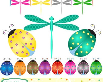 20 Dragonfly and Beetle, clip art designs. INSTANT DOWNLOAD for Personal and commercial use.