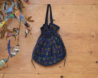 Vintage 60's Navy Bubble-beaded Floral Drawstring Purse Round MOD Hip Look
