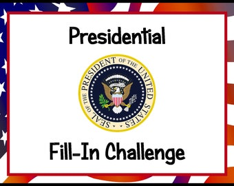 Presidential Fill-In Challenge DIY Study, Instant Download, Research Project