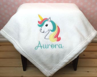 Unicorn Blanket with Name, Personalized Unicorn Blanket, Plush Personalized Blanket, Embroidered blanket with Name, Unicorn Kids Blanket