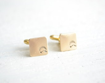 Bent arrow under sun symbol cufflinks - mens bohemian wedding day accessories - made by hand in the USA by white truffle
