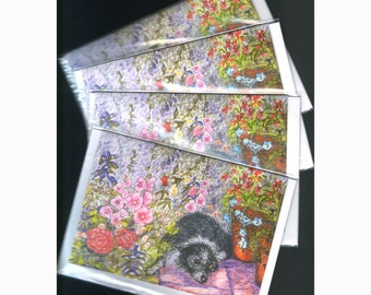 4 x Border Collie dog greeting cards - Just another flower in the garden of life...