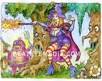 Xno,FRANKENSTEIN,ORIGINAL ART,monster,monsters,Horror,comic art,comic,comic book,Witchiepoo,H R Pufnstuf,tattoo,animation,cartoon,tv,witch
