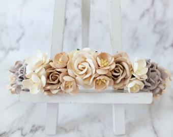 Rustic gray brown ivory flower crown - boho wedding floral hair wreath - bridal headpiece - hair accessories - garland - woodland crown