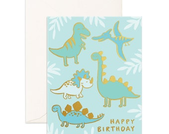 Birthday Dinos Foil Greeting Card