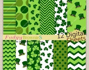 ON SALE St. Patrick's Day Digital Paper Set _ 7.5x11 Digital Paper Pack. Shamrock Digital Paper,clover,No.173 printable paper,green chevron