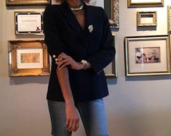 Navy blue Wool Blazer with gold button details