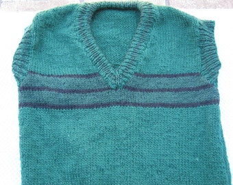 Gorgeous Green Stripes Hand Knitted Vest for a Boy aged around 10 years.