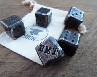 Customized blacksmith dice! Personalized gift for men. Gift for him. Hand forged, 6th anniversary, iron anniversary. Hand forged customize.