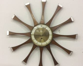 Forestville Walnut Keywind Wall Clock Mid Century Modern