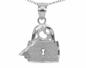 10k White Gold Key and Lock Pendant