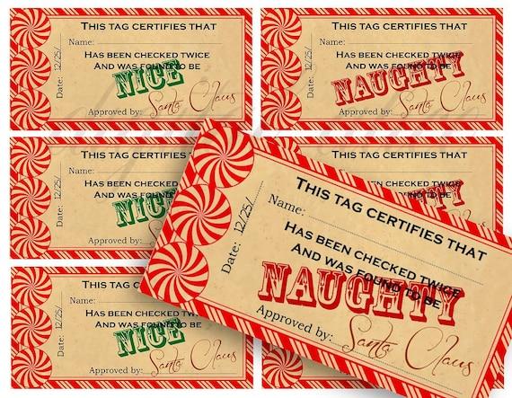 Nice Tag: NAUGHTY And NICE SANTA Tags Instant Download Digital