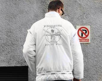 Vintage Chiemsee Windsurfing Active Wear jacket / White coat windbreaker bomber unisex / OldSchool big logo nylon parka / Streetwear 80s 90s
