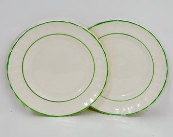 Pair White green ShabbyCottage Chic Petal Small Side Plates Vintage Kitchen Decor