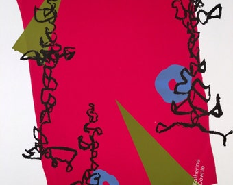 Abstract screenprint red green blue squiggles bonfire