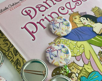 twelve dancing princesses fairy tale mini pin 1-inch fairy tale art button ballet pin dancing slippers princess art faerie tale feet pin
