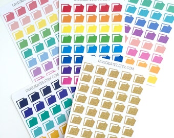 Die-cut file folder stickers for Day Designer and other planners