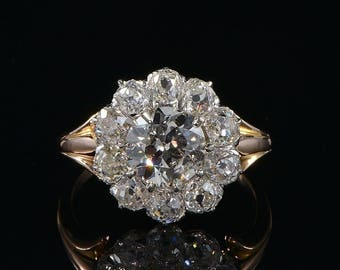 Authentic Edwardian 3.90 Ct diamond rare cluster ring