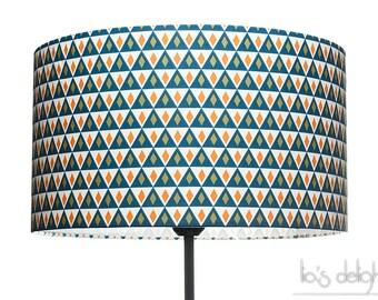 Abat-jour géométrique scandinave losanges et triangles bleus, abatjour, abat jour