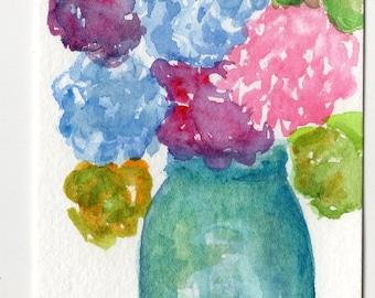 Hortensias coloré bleu Canning Jar peinture à l'aquarelle, ART Original, ACEO
