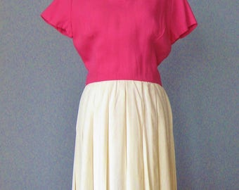 Two Tone Day Dress / Vtg 60s / Nantucket Naturals Pink and White Day Dress