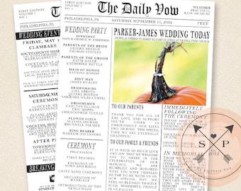 Printable Newspaper Inspired Wedding Program or Welcome Letter Design