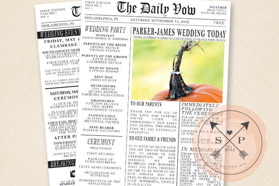 Printable Newspaper Inspired Wedding Program Or Welcome Letter