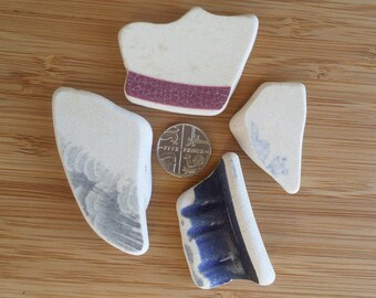 4 Shards of English Beach/Sea Pottery from the Northumberland Coast, Vintage items for Craft Making, Pottery Shards, Beach Pottery Shards
