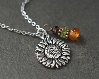 Sunflower Necklace, Sunflower Jewelry, Sunflower Gift, Carnelian Necklace, Sunflower lover Gift, Silver Sunflower Charm