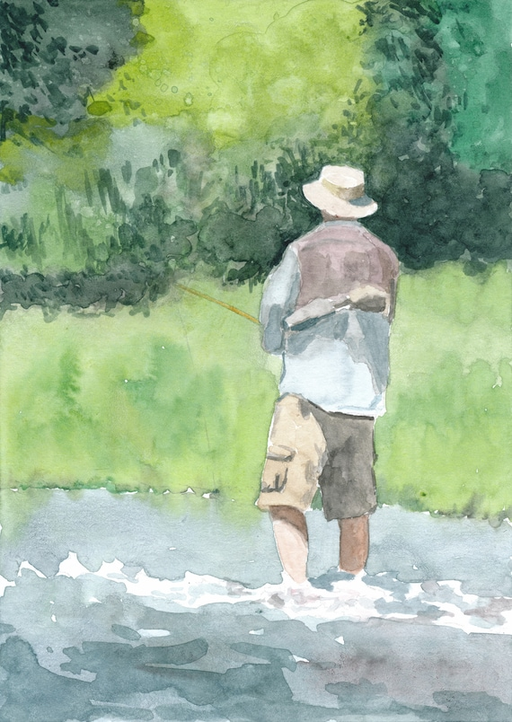 Watercolor Fisherman Print