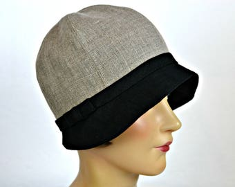 Linen Cloche Hat in Taupe and Black - 1920s Cloche - Women's Hat - Made to Order