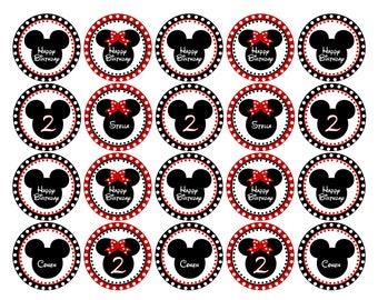 Mickey & Minnie Cupcake Topper - Printable - DIY - Boy/Girl Birthday