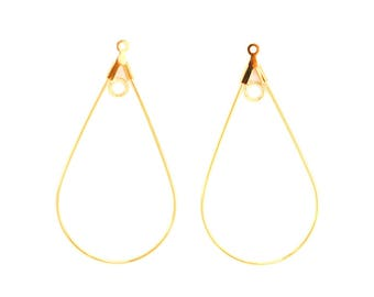 Pair for earrings drop 40mm gold plated brass