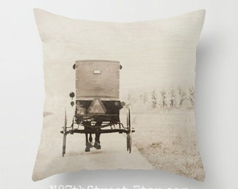 "AMISH BUGGY 16x16"" Pillow Cover. Photo Art by TMCdesigns. Sepia tones. Home Decor. Horse, Carriage, Country Road. Caution sign. Faith. PA"