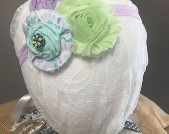Purple, blue and green triple flower headband