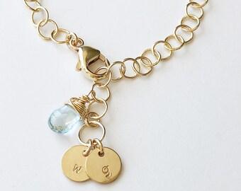 Personalized Bracelet, Dainty Gold Bracelet, Gold Bracelet, Gold Initial Bracelet, Gold Chain Bracelet, Initial Bracelet, Personalized Gold
