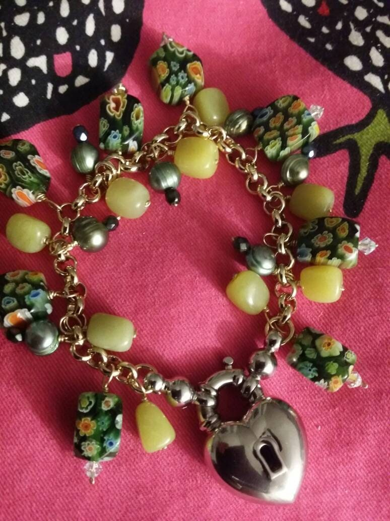 Dangle bracelet with murano glass like milli fiori beads two