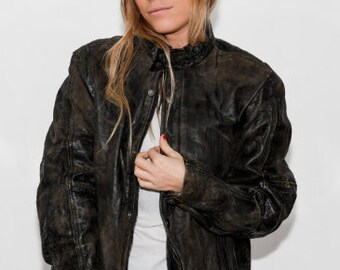 Vintage 90s 'Soho' Black Leather Jacket