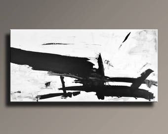 XL ORIGINAL ABSTRACT Painting Black White Gray Painting Extra Large Canvas Art Contemporary Abstract Modern Art 75x36 wall decor #46WBi1