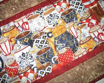 Coffee Table Runner, expresso, coffee cups, coffee mugs quilted table runner, handmade