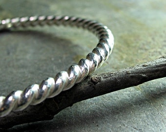 Thick Sterling Silver Twist Bangle Bracelet - Silver Twist