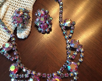"""Aurora Borealis Vintage Necklace and Matching Earrings,  Silver Tone, 15"""", Beautiful Piece!!!"""