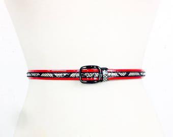 Vintage 1980s Red White and Black Skinny Belt