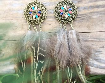 Antique Bronze Ornate Feather Dangle Earrings - Feather Festival Jewelry - Natural Feathers - Hippie Gypsy Boho Earrings - Bohemian Jewelry