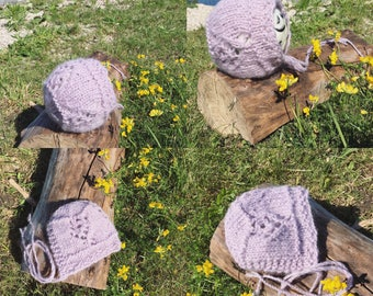 Newborn size Wildflower round back knit bonnet, photo prop,gift idea,coming home