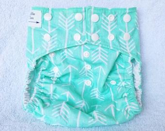 Aqua diaper cover, arrows diaper cover, unisex diaper cover, fletcher tula accessories, cloth diaper cover, one size diaper cover, reusable