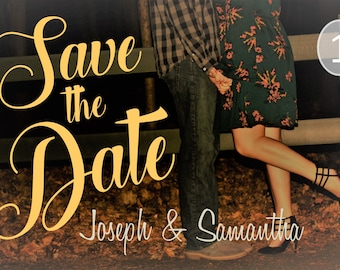 Monogram Save the Date Postcard