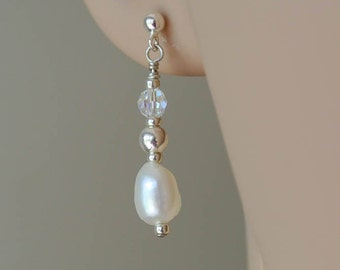 Ivory White Pearl Drop Earrings - Freshwater Pearl and Swarovski Crystals Sterling Silver Earrings