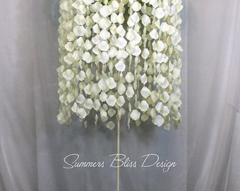Tall Suspended Floral Flower Chandelier Event Wedding Centerpiece with Adjustable Metal Stand